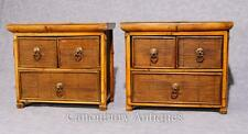 Pair Chinese Antique Bamboo Chest Drawers Mini Travelling Samples 1880