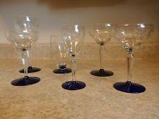 VINTAGE-6 ASSORTED WESTON CRYSTAL ETCHED COBALT BASE GLASSES-L@@K!