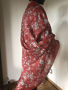 GUCCI Schal Singature GG&Arabesque 140X140cm Limited Edition Modal Seide rot NEU