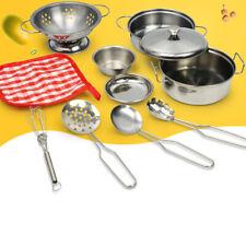 10 Kinder Küchenspielzeug Edelstahl Kochgeschirr Geschirrset zum Spielen