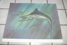 Vintage Les Kouba Blue Marlin Deep Sea Ocean Fish Poster Print