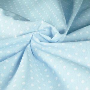 Fabric Cotton Polka Dots White Bottom Celeste Cut 280x280 CM