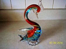 LARGE VINTAGE MURANO MULTICOLORED TROPICAL KINGFISHER  SWAN ART GLASS FIGURINE