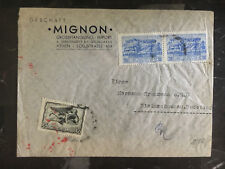 1940s Athens Greece Dual Censored Cover to Sudetenland Germany Mignon