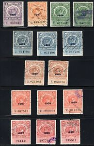 Chile TAX BOB stamps 1927-29 year overprint scarce lot 15 differents