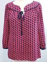 Vineyard Vines Womens sz S Small 100% Silk Navy Blue Pink Whale Blouse Top Shirt