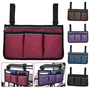 Universal Wheelchair Side Bag Zip Pocket Storage Bag Armrest Pouch Organizer UK,