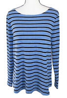 Charter Club Size XL Blue Striped Scoop Neck Long Sleeve Knit Top