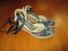 Ladies Tommy Hilfiger Blue Paisley Wedge Heels Espadrilles Ribbon Straps 9.5M