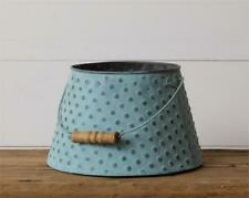 New Primitive Rustic Farmhouse BLUE BUCKET WITH HANDLE Pot Pail Embossed wood