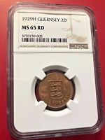 Guernsey 1929-H 2 Doubles NGC MS65 RD