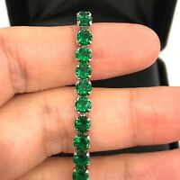 23.37Ct Round Green Emerald Tennis Bracelet Women Fine Jewelry 18K Gold Plated