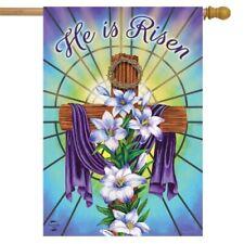 F66 EASTER CROSS HE HAS RISEN RELIGIOUS JESUS  LARGE HOUSE FLAG 28X40 BANNER
