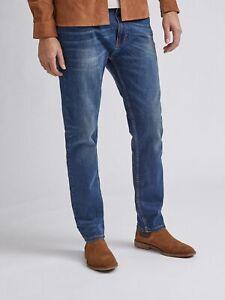 BURTON MENSWEAR LONDON Mens Blue Tapered Fit Jeans Organic Cotton Pants Bottoms