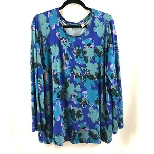 LOGO Lori Goldstein Womens Top Tunic Knit Pockets Long Sleeve Blue Size 2X