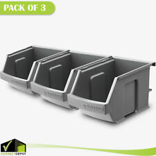 Gladiator Small Item Bins Garage Storage Organizer Stackable Gray Plastic 3 Pack