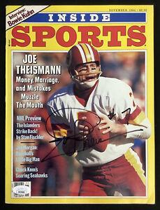 Joe Theismann Signed Inside Sports Nov 1984 No Label Football Redskins Auto JSA