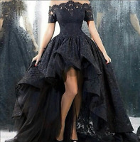 Black Wedding Dress High Low Off-Shoulder A-Line Lace Gown SweetHeart Girls