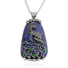 "Lapis Lazuli Marcasite Peacock Chain Pendant Necklace for Women Gift 20"" Ct 10.4"