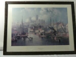 (ref288) James Wilson Carmichael Print Brayford Pool and Lincoln Cathedral