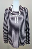 Weekends by Chicos Womens 3 Womens 16-18 Purple White Cowl Neck Pullover Sweater
