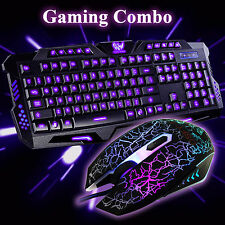 Gaming 3 Colors USB Wired Backlight Keyboard and Illuminated Mouse Combo Set