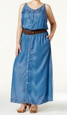 NWT INC Denim Maxi Dress 3x Slit Belted Belt Long Snap Front Braided Scoop Back