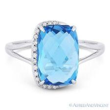 Diamond 14k White Gold Right-Hand Fashion Ring 4.79 ct Cushion Cut Blue Topaz &
