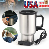 12V Electric Heated Travel Mug Stainless Steel Coffee Tea Cup Warmer Heater
