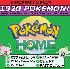 Pokemon Home ALL 807 SHINY&NONSHINY FULL Living Dex & Events 1920 POKEMON TOTAL