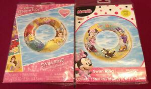 """Disney Princess & Minnie Mouse Swim Rings~NEW~2 Swim Ring Lot~17½"""" + repair kit"""