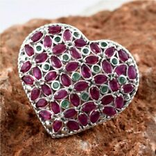 African Ruby and Kagem Zambian Emerald Heart Ring in Platinum Plated Sterling...