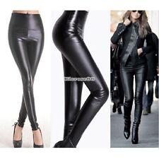 Damen Wet Look-Leder Leggings Sexy Stretch-dünne Hosen Jeggings Hot S++++
