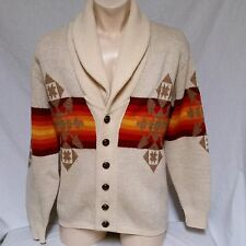 VTG Pendleton Cowichan Sweater Wool Shawl Western Wear Aztec Big Lebowski Large