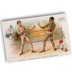 """1894 James Corbett vs Peter Jackson Boxing Reproduction 11x17"""" Two Wall Posters"""