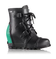 SOREL Joan Rain Wedge Black/Emerald Women's Waterproof Lace Boots Sizes 6.5 8.5