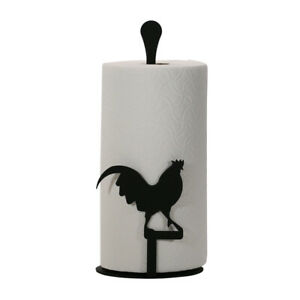 Wrought Iron Free Standing Paper Towel Stand in Rooster - Loon - or Heron Design