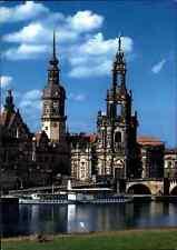 Kirchen Motiv-Ansichtskarte Kirche DRESDEN Katholische Hofkirche & Elbe Dampfer