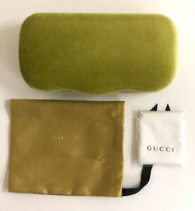 NEW Gucci Sunglasses Eyeglasses Case Hard Velvet Case + Pouch & Cloth Lime Authe