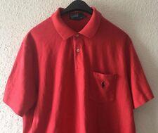 Mens Polo Ralph Lauren Red Polo Shirt w/ Pocket, Navy pony Sz Large