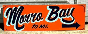 MORRO BAY Vintage Hand Painted Lettered Metal Sign Beach House Ocean Cafe Decor
