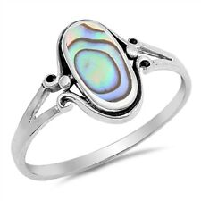 Sterling Silver Woman's Abalone Ring Simple Cute 925 Band Sizes 4-10 NEW
