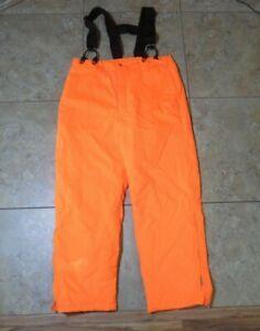VTG Woolrich Hunting Gore-Tex Hunter Orange Pants w/ Suspenders Large Meas 39x31