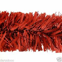 2m (6.5 Ft) Luxury Thick Tinsel Christmas Tree Decoration Garland Red xmas DIY