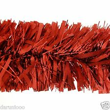 2m (6.5 Ft) Luxury Thick Tinsel Christmas Tree Decoration Garland Red xmas DIY