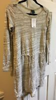 Left Of Center Anthropologie Grey Ivory Drawstring Sweater Tunic Small