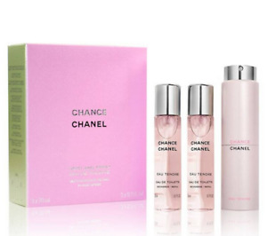 CHANCE CHANEL Women Perfume 3 x 20ml Eau De Toilette TWIST AND SPRAY *NEW* (HC23