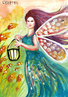 ACEO original miniature painting WaterColor Art - Fairy Light