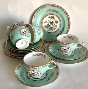 5 Extremely Rare Vintage Wedgwood Bideford Aqua Trios. Cup Saucer and Side Plate