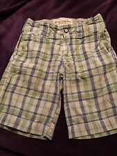 Boys Abercrombie Green Blue Plaid Shorts Size 10